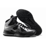 Nike Lebron 10 X Shoes Black Silver