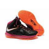Nike Lebron 10 X Shoes Black Pink Orange